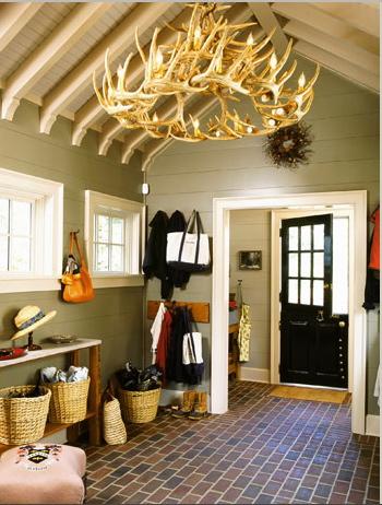 Antler chandelier in hallway